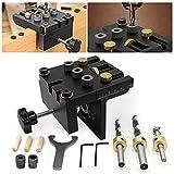GJCrafts Kit de plantilla para Posicionamiento de carpintería 6/10 /15 mm 3 en 1 Kit de plantilla para orificios de bolsillo con clip de posicionamiento Guía de perforación ajustable Localizador