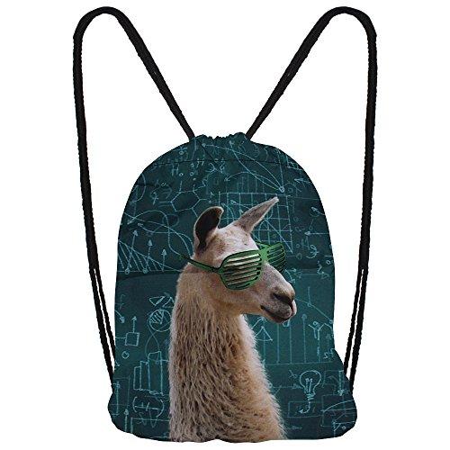 Hanessa Jutebeutel mit - Cool Lama - Tier Aufdruck Sportbeutel Tüte Rucksack Beutel Tasche Gym Bag Gymsack Hipster Fashion Sport-Tasche Einkaufs-Tasche