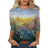 Camiseta de manga larga para mujer, estampado de girasol de mariposa, suelta, informal, con cuello en O, Pintura de paisaje verde, XXL