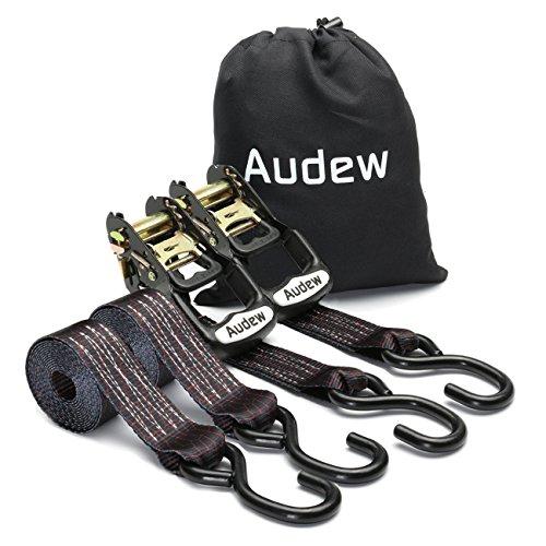 Audew Pack de 2 Correas de Amarre con Trinquete 35mm x 2.4M, Correas de Sujeción para Transportar Mercancías del Hogar en la Moto, ATV, Motos de nieve, Bicicleta Sucia, Barcos y Camiones de Carga.