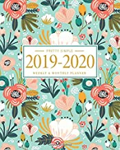 Pretty Simple Planners Weekly and Monthly Planner and Organizer: Calendar Schedule + Agenda | Inspirational Quotes | Floral Mint Cover (2019-2020 Academic Planners July 2019 through July 2020)