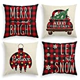 AVOIN Christmas Winter Buffalo Plaid Truck Ornaments Merry and Bright Throw Pillow Cover, 18 x 18 Inch Holiday Christmas Tree Let It Snow Snowflake Cushion Case Decoration for Sofa Couch Set of 4