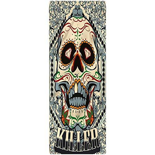 Sugar Skull Indoor/Outdoor Runner Rug, 2'x6', Gothic Killer Frame Plush Decorative Kitchen Mat with Non Slip Backing for Kitchen/Tub/Living Room