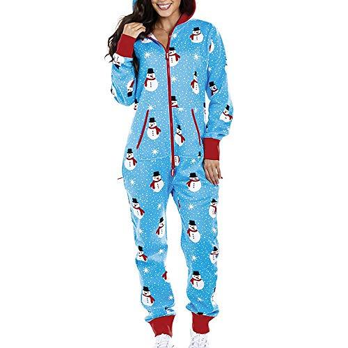 Damen Jumpsuit Sweat Overall Weihnachten Ganzkörperanzug Xmas Print Schlafanzug Einteiler Jogginganzug Homewear Strampler Jogginganzug Weihnachts Cosplay Bodysuits (XXL/(EU=42), Blau)