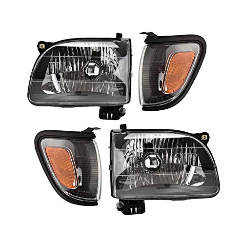 Replacement Headlight GTYTC01-A4 Black Housing Amber Reflector Clear Lens & Black Trim Corner Light Combination Set compatible with Tacoma Pickup Truch 2001-2004 OE # 81150-04110 81110-04110