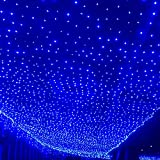 3m x 6m Stage Backdrop Velvet Material Blue and White LED Starry Sky Cloth Background with Various Lighting Effects Foldable Wedding Party Xmas Curtain with Remote for Christmas Halloween Stage Show