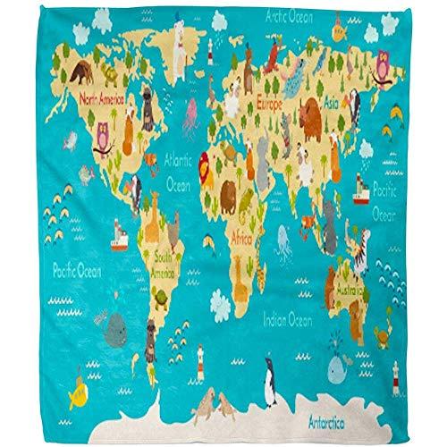 Blanket Niños Animales Mapa del Mundo Preescolar Bebé Continentes Océanos Dibujado Manta Manta De Tierra Hotel Oficina Cálida Manta De Vellón Difusa Suave Sala De Estar Manta Cama Sofá 102X127Cm