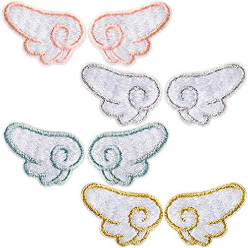 PAGOW 4 Pairs Angel Wings Embroidered Patches,Colourful Iron on Patches for Kids Clothing Jackets Bags, DIY Sweet Embroidery Patches Cute Sewing Craft Decoration