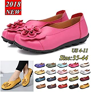 Women Summer Genuine Leather Casual Flat Shoes Comfort Loafers(Size:35-44)(Blue,US4.5-EU35)
