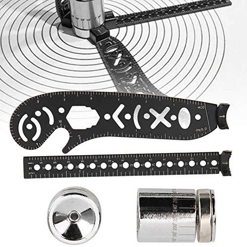 磁気描画コンパス定規、多機能コンパス測定鉄描画定規描画アクセサリ、デザイナーアーティスト向け(black, 17mm)