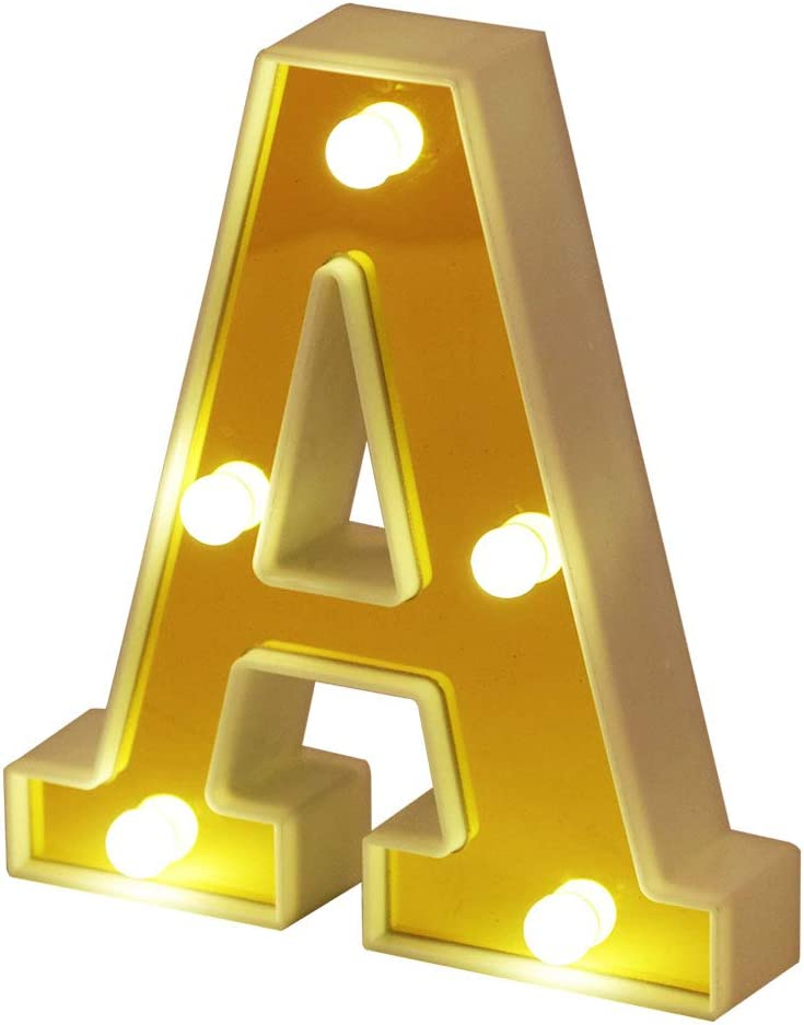 ROUDK LED Marquee Letter Lights 26 Alphabet Light Up Letters with Battery Power Golden Sign LED Wall for Home Bar Festival Christmas Lamp Night Light Birthday Party Wedding Decorative