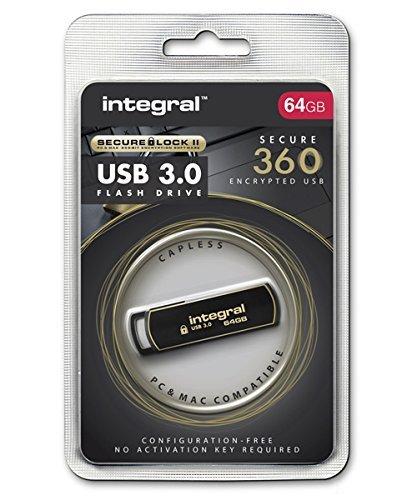 Integral 64GB Secure 360 Encrypted USB3.0 Unidad Flash USB USB Tipo A 3.0 (3.1 Gen 1) Negro, Oro - Memoria USB (64 GB, USB Tipo A, 3.0 (3.1 Gen 1), Girar, 5 g, Negro, Oro)