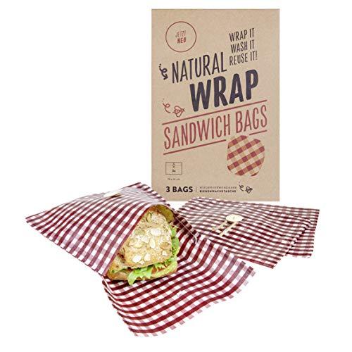 Media Chain Natural Wrap Sandwich Tasche Rot – Wiederverwendbare Bienenwachstücher Tasche Brotbeutel Brottasche Ersetzt Alufolie Und Frischhaltefolie (Nicht-Vegan)