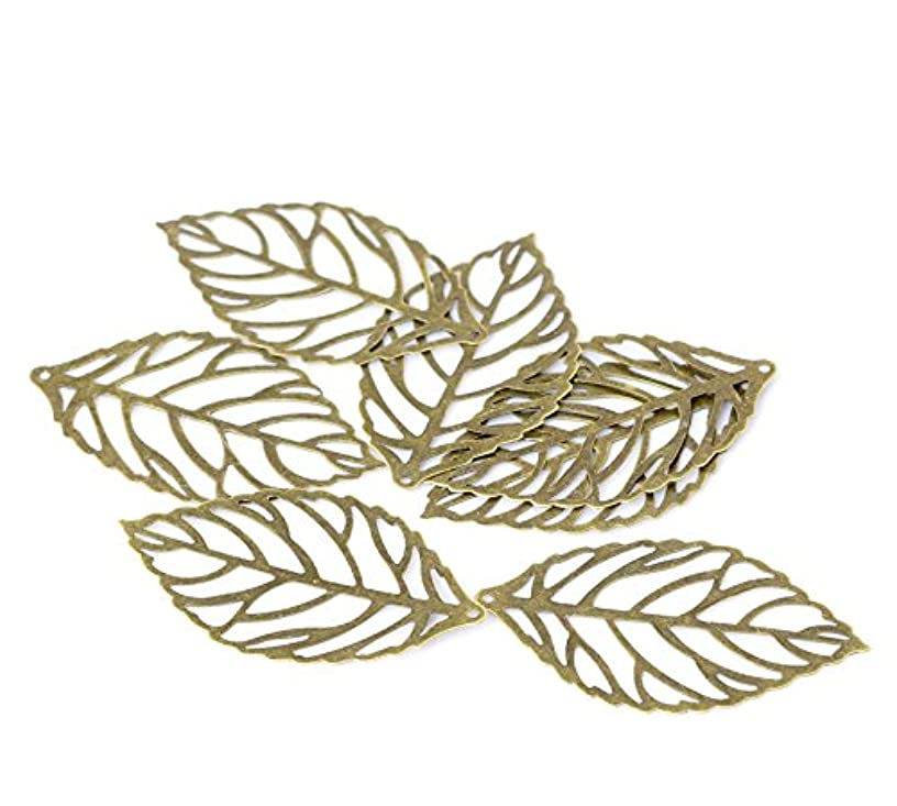 PEPPERLONELY Brand 100 Piece Antique Bronze Leaf Stamping Embellishments Findings 4.4x2.6cm(1-6/8 x 1 Inch)
