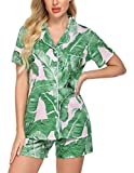 Ekouaer Womens Short Pajamas Set Soft Cotton Sleepwear Pjs Set with Printed Pattern(PAT3,Medium)
