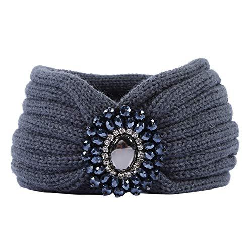 Tininna, Cerchietto, fascia per capelli in lana, lavorata a maglia, turbante elastico, copri orecchie, con pietra, da donna/ragazza grigio taglia unica