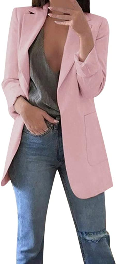 VEKDONE Womens Casual Blazers Plus Size Long Sleeve Open Front Business Suit Jackets Stretch Work Office Cardigan Jacket
