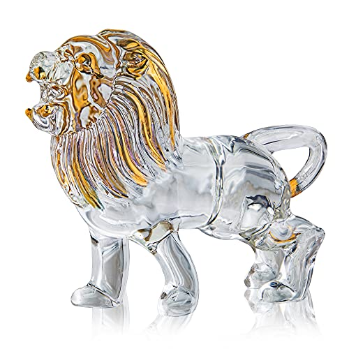 YU FENG Crystal Lion Figurine Collectible Blown Painted Glass Art Wildlife Animal Sculpture Ornament Handmade Crystal Paperweight Gifts
