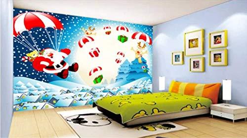 LONGYUCHEN Benutzerdefinierte 3D Wandbild Tapete Weihnachten Serie Cartoon Alten Mann Elch Geeignet Für Kinderzimmer Kindergarten Spiel Zimmer Dekoration Seide Wandbild,250Cm(H)×360Cm(W)