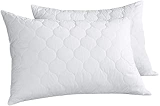 PEACE NEST Goose Feather And Down Pillows, 100% Cotton Cover, Quatrefoil Quilted, Standard/Queen Size (2 pack)