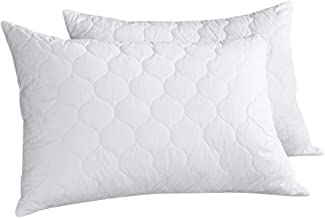PEACE NEST Goose Feather And Down Pillows, 100% Cotton Cover, Quatrefoil Quilted, Standard/Queen Size (2 pack) …