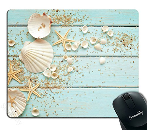 Smooffly Gaming Mouse Pad Custom,Starfish Decoration Shells Pebbles Customized Rectangle Non-Slip Rubber Mousepad Gaming Mouse Pad