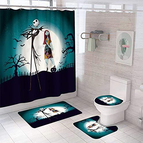 Juego de 4 cortinas de ducha de pesadilla antes de Navidad, Jack and Sally cortina de ducha alfombras de baño alfombra de baño tapa de inodoro para decoración de baño de Halloween