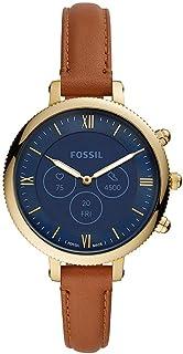 Fossil Hybride Smartwatch HR voor Dames, Monroe Goudkleurig Roestvrij Staal met Bruin Leren Bandje, FTW7034