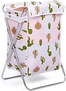 Whitephant Kings Foldable Laundry Hamper with Lid, Waterproof Laundry Hamper, Large Laundry Basket, Collapsible Fabric Laundry Hamper, Nordic Style. (White Cactus)