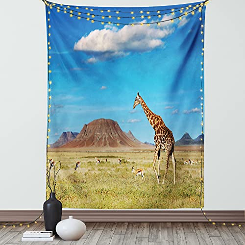 """Ambesonne Safari Tapestry, Savanna with Giraffe and Grazing Antelopes Volcano Summer Picture, Wall Hanging for Bedroom Living Room Dorm Decor, 60"""" X 80"""", Blue Sand"""