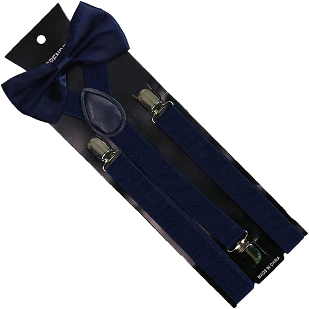 2.5Cm Wide Solid Color Clip-On Braces Bow Tie Elastic Y-Back Suspenders For Men Womens 3 Clip Ties Sets