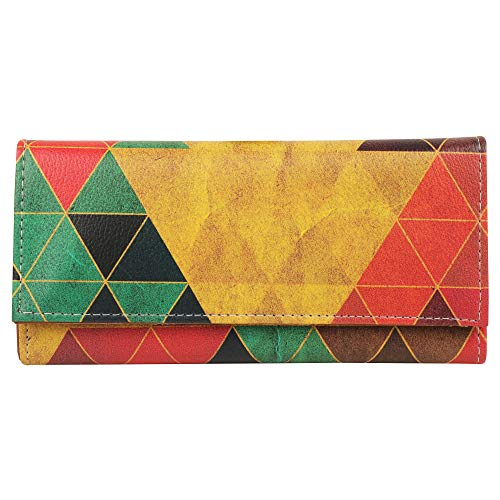 Shopmantra Geometrical Triangles Canvas With Leather Multicolor Women's Wallet