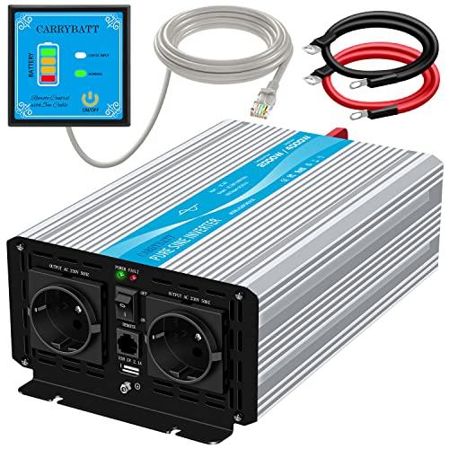 CARRYBATT 2000W kfz Spannungswandler Wechselrichter Reiner Sinus 12V auf 230V-inkl.5 Meter Fernsteuerung-2-EU-AC-steckdoses & 1 USB - Spitzenleistung 4000 Watt für Auto, Wohnwagen,Camping