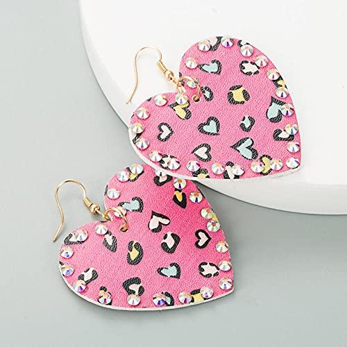 XCWXM Moda exagerada Pendientes de Diamantes de Cuero Bohemios Bohemios con Estampado de Leopardo bañados en Oro borlas largas para Damas Accesorios de Fiesta-Rosa