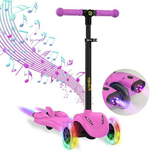 Hiboy Patinete de 3 Ruedas Scooter para niños con Música, Vapor de colores, Ruedas con Luz Intermitente, Altura Ajustable y freno trasero - Para Niños de 3 a 9 Años, Modelo S51 Rosa