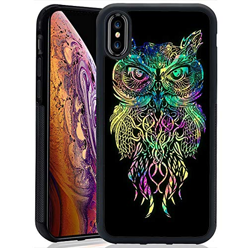 Case with Galaxy Owl Pattern for iPhone Xs Max (2018) Whimsical Design Bumper Black Soft TPU and PC Protection Anti-Slippery &Fingerprint Case for iPhone Xs Max
