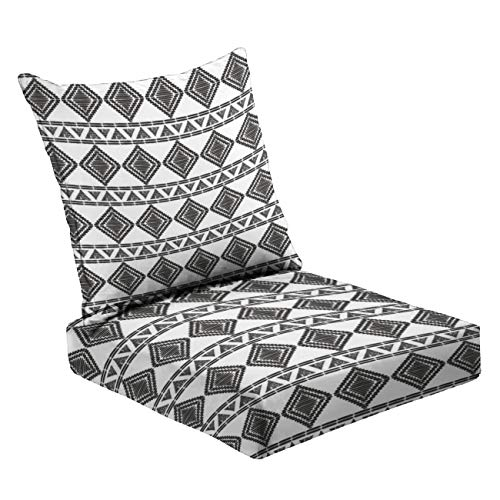 MVEMOEMCA Tribal Pattern Vector Seamless Stock Illustration Deep Seat Cushion Set Plush Surface Backrest and Seat Cushion Outdoor Indoor Furniture Replacement Cushions