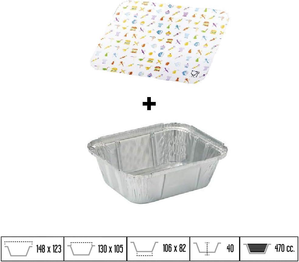 Capacidad 1000 ml y tama/ño 167 x 37 mm TELEVASO tapas de cart/ón apto para altas temperaturas Envase//recipiente de aluminio redondo 100 uds Bandejas desechables y reciclables