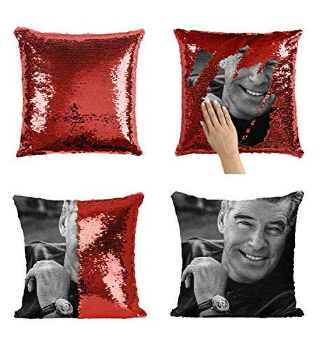 Pierce Brosnan Agent 007 Bond Actor_MA0285 Pillow Cover Sequin Mermaid Flip Reversible Cuscino Meme Emoji Actor Girls Boys Couch Office Sofa (Cover Only)