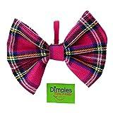 Dimples Hundefliege Schottenkaro pink lila - Hundehalsband Fliege für kleine, mittlere, große Hunde - Hunde Halsschleife -Hundebesitzer Geschenk – Foto Requisite für Parties und Hochzeiten mit Hund