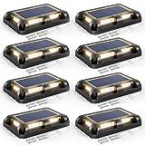 CLY Solar Deck Lights Outdoor Driveway Dock LED Light Solar Powered Waterproof Lights for Step Sidewalk Stair Garden Ground Pathway Yard Warm White (Black-8P)