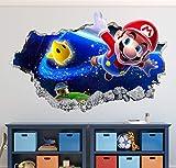 "Mario Bros Wall Decal Art Decor Magic World 3D Smashed Sticker Mural Kids Gift Large HA17 (50"" W x 30"" H)"