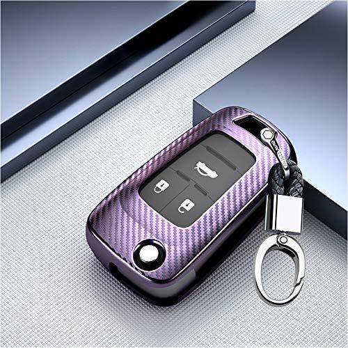 ontto Autoschlüssel Hülle Cover fürOpel Vauxhall Astra Corsa Insignia Karl Grandland X Zafira Chevrolet Cruze Schlüsselhülle mit Schlüsselanhänger Weiche TPU Schlüssel Schutz Etui Case 3 Taste-Lila