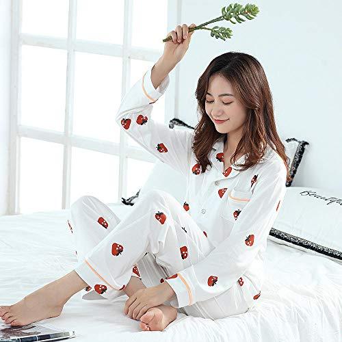 LLGG Algodón Pijamas de Honda Ropa para,Pareja de Pijamas de algodón Puro, Traje de Servicio a Domicilio de Verano.-Fresa Blanca_L