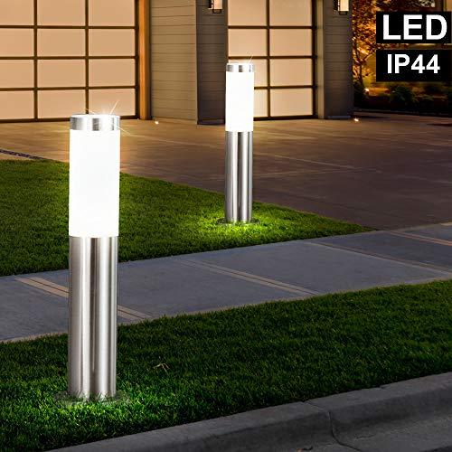 2x LED Außen Steh Lampe Stand Leuchte Weg Garten Hof Einfahrt Veranda Beleuchtung EDELSTAHL IP44 H: 45cm