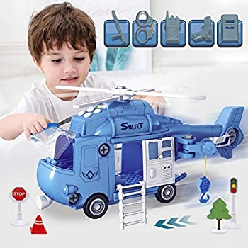 Laoslaisi Police Airplane Helicopter Set with Lights, Sounds & Map