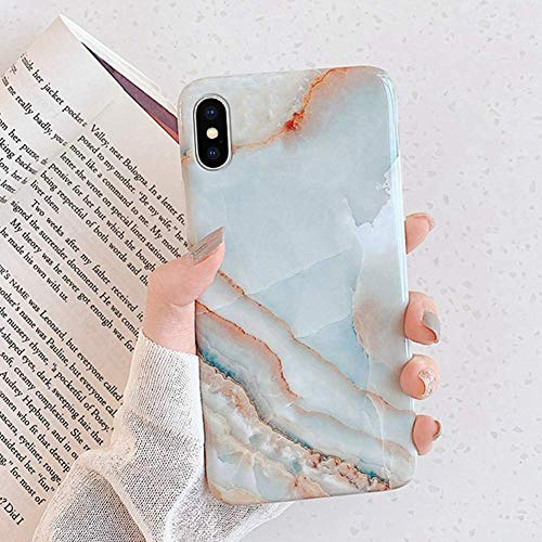 Herbests Kompatibel mit iPhone XS Max Hülle Matt Marmor Muster Weich Crystal Silikon Handyhülle Stein Marble Ultra Dünn Handytasche Kratzfest Schutzhülle TPU Bumper Case,Blau