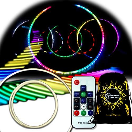 Flames 'N Games Andromeda LED Glühen Hula Hoop. Wiederaufladbarer, Ferngesteuerter LED Hula Hoop mit 300 Modi.