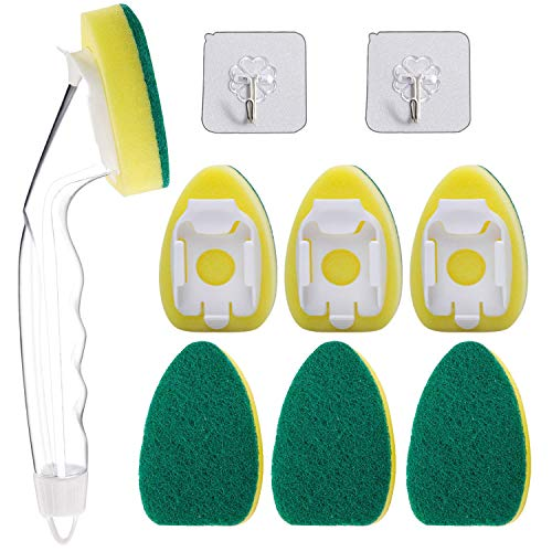 1 Dish Wand with 6 Replaceable Dishwand Refills Sponge Brush Heads and 2 Adhesive Hooks, Heavy Duty Scrubbing Sponges Set, Perfect for Kitchen, Dishwashing and Sink Cleaning (9PCS/PACK)