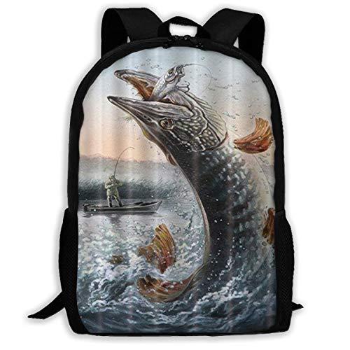 zaino per la scuola Big Pike Fish Laptop Backpack Elegant Casual Daypacks Outdoor Sports Rucksack School Shoulder Bag for Men Women Camping bookbag